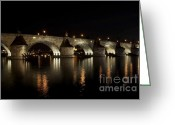 1300s Greeting Cards - Charles bridge at night Greeting Card by Michal Boubin