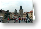 Czech Republic Digital Art Greeting Cards - Charles Bridge in Prague Greeting Card by Pravine Chester