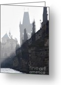 Citypace Greeting Cards - Charles bridge in the early morning fog Greeting Card by Michal Boubin