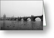 Black And White Animal Greeting Cards - Charles Bridge, Praha Greeting Card by Gil Guelfucci