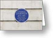 Commemorative Greeting Cards - Charles Darwin Commemorative Plaque Greeting Card by Seymour