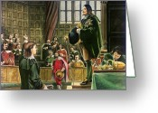 Monarchs Greeting Cards - Charles I in the House of Commons Greeting Card by English School