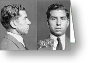 Mug Shot Greeting Cards - Charles Lucky Luciano Greeting Card by Granger