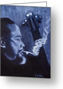 Monotone Painting Greeting Cards - Charles Mingus Greeting Card by Tabetha Landt-Hastings