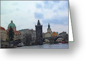 Czech Republic Digital Art Greeting Cards - Charles Street Bridge and Old Town Prague Greeting Card by Paul Pobiak