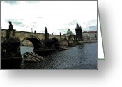 Vltava Digital Art Greeting Cards - Charles Street Bridge in Prague Greeting Card by Paul Pobiak