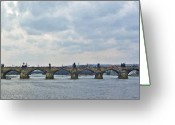 Vltava Digital Art Greeting Cards - Charles Street Bridge Greeting Card by Paul Pobiak