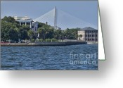 History Greeting Cards - Charleston Battery Row and bridge  Greeting Card by Dustin K Ryan