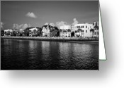 Row Greeting Cards - Charleston Battery Row Black And White Greeting Card by Dustin K Ryan