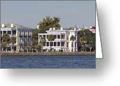 Historic Lighthouse Greeting Cards - Charleston Battery Row Panoramic Greeting Card by Dustin K Ryan
