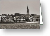 Historic Lighthouse Greeting Cards - Charleston Battery South Carolina Sepia Greeting Card by Dustin K Ryan