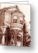 Meeting Drawings Greeting Cards - Charleston Greeting Card by Gary Galarza