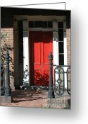 Photographs With Red. Greeting Cards - Charleston Red Door and Black Iron Gate Greeting Card by Kathy Fornal