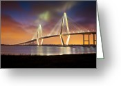 Evening Greeting Cards - Charleston SC - Arthur Ravenel Jr. Bridge Cooper River Greeting Card by Dave Allen