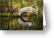 Reeds Reflections Greeting Cards - Charleston SC Magnolia Plantation Spring Blooming Azalea Flowers Garden Greeting Card by Dave Allen