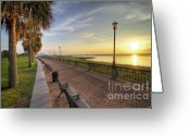 Park Benches Greeting Cards - Charleston SC waterfront park sunrise  Greeting Card by Dustin K Ryan