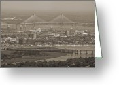Sepia Greeting Cards - Charleston South Carolina Aerial Greeting Card by Dustin K Ryan