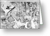 Charlestown Greeting Cards - Charlestown: Map, 1776 Greeting Card by Granger