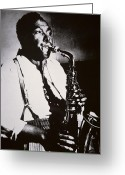 Half Length Greeting Cards - Charlie Parker Greeting Card by American School