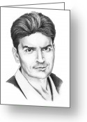 Famous People Drawings Greeting Cards - Charlie Sheen Greeting Card by Murphy Elliott