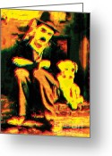 Vintage Mixed Media Greeting Cards - Charlie Waiting For To Come Home Greeting Card by Eakaluk Pataratrivijit