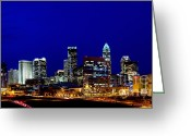 City Scapes Framed Prints Greeting Cards - Charlotte NC Skyline at dusk Greeting Card by Patrick Schneider