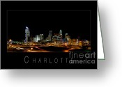 City Scapes Framed Prints Greeting Cards - Charlotte skyline at night Greeting Card by Patrick Schneider