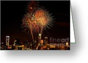 Pyrotechnics Greeting Cards - Charlotte skyline fireworks Greeting Card by Patrick Schneider