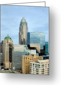 City Scapes Framed Prints Greeting Cards - Charlotte skyline in daylight Greeting Card by Patrick Schneider