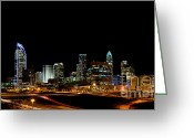 City Scapes Framed Prints Greeting Cards - Charlotte Skyline panoramic Greeting Card by Patrick Schneider