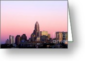 City Scapes Framed Prints Greeting Cards - Charlotte Skyline vibrant pink Greeting Card by Patrick Schneider