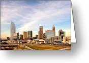 City Scapes Framed Prints Greeting Cards - Charlotte Skyline wispy clouds Greeting Card by Patrick Schneider