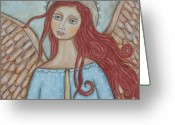Religious Art Painting Greeting Cards - Charmeine Greeting Card by Rain Ririn