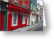 European Union Greeting Cards - Charming Narrow Street in Kinsale Greeting Card by George Oze