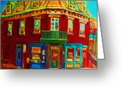 Corner Stores Greeting Cards - Charming Store  On The Corner Greeting Card by Carole Spandau