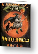 Black Cat Greeting Cards - Charms of the Witching Hour Greeting Card by Joel Payne