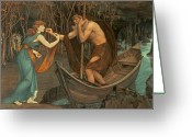 Styx Greeting Cards - Charon and Psyche Greeting Card by John Roddam Spencer Stanhope