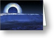 Solar Eclipse Greeting Cards - Charons Shadow Cast On Pluto Greeting Card by Detlev Van Ravenswaay