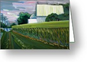 Contrasts Greeting Cards Greeting Cards - Chartreuse Waves of Grain Greeting Card by Charlie Spear