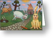 Humor Greeting Cards - Chasing Tail Greeting Card by James W Johnson
