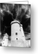 Silver Moonlight Greeting Cards - Chateau de Blandy les Tours Greeting Card by Simon Marsden