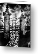 Silver Moonlight Greeting Cards - Chateau de Carrouges Greeting Card by Simon Marsden