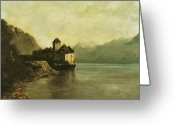 Courbet Greeting Cards - Chateau de Chillon Greeting Card by Gustave Courbet