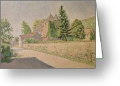 Pointillist Painting Greeting Cards - Chateau de Comblat Greeting Card by Paul Signac