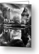 Silver Moonlight Greeting Cards - Chateau de Largoet Greeting Card by Simon Marsden