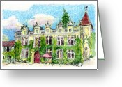 Tilly Strauss Greeting Cards - Chateau de Maumont Greeting Card by Tilly Strauss