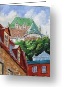 Urban Painting Greeting Cards - Chateau Frontenac Greeting Card by Richard T Pranke