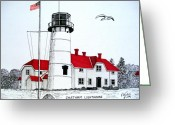 Historic Lighthouse Drawings Greeting Cards - Chatham Lighthouse Drawing Greeting Card by Frederic Kohli
