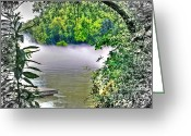 White River Scene Greeting Cards - Chattahoochee Mist Greeting Card by Dan Stone