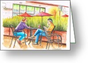 Los Angeles Painting Greeting Cards - Chatting-in-Starbucks-Sunset-8000-West-Hollywood-CA Greeting Card by Carlos G Groppa